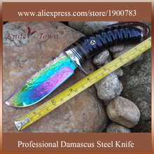 DT095 damascus steel blade knife camping knife goat horn handle titanium coating blade fixed hunting knife faca de bolso