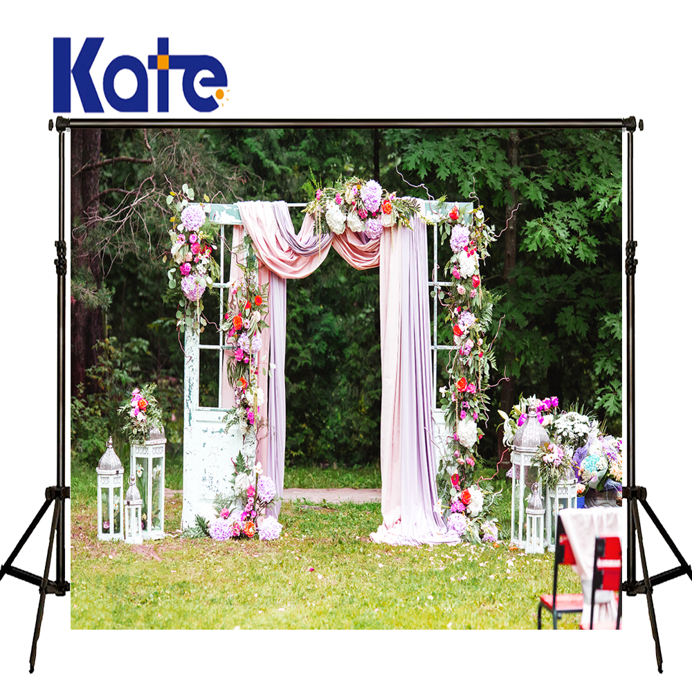 KATE Photography Backdrops Flower Wedding Background White Door and Pink Curtain Backdrop Outdoor Scenery Photo for Photocall kate photo background scenery