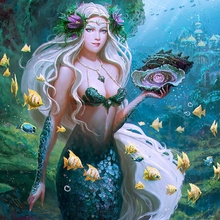 Diamond Mosaic Mermaid Girl in the water Full Square PaintingCross Stitch Kit Embroidery Picture Rhinestone
