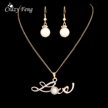 Korean New Fashion Love Letter Pendants Clavicle Necklace 18K Gold Plated Imitation Pearl Ball Collar Necklaces Earrings Set