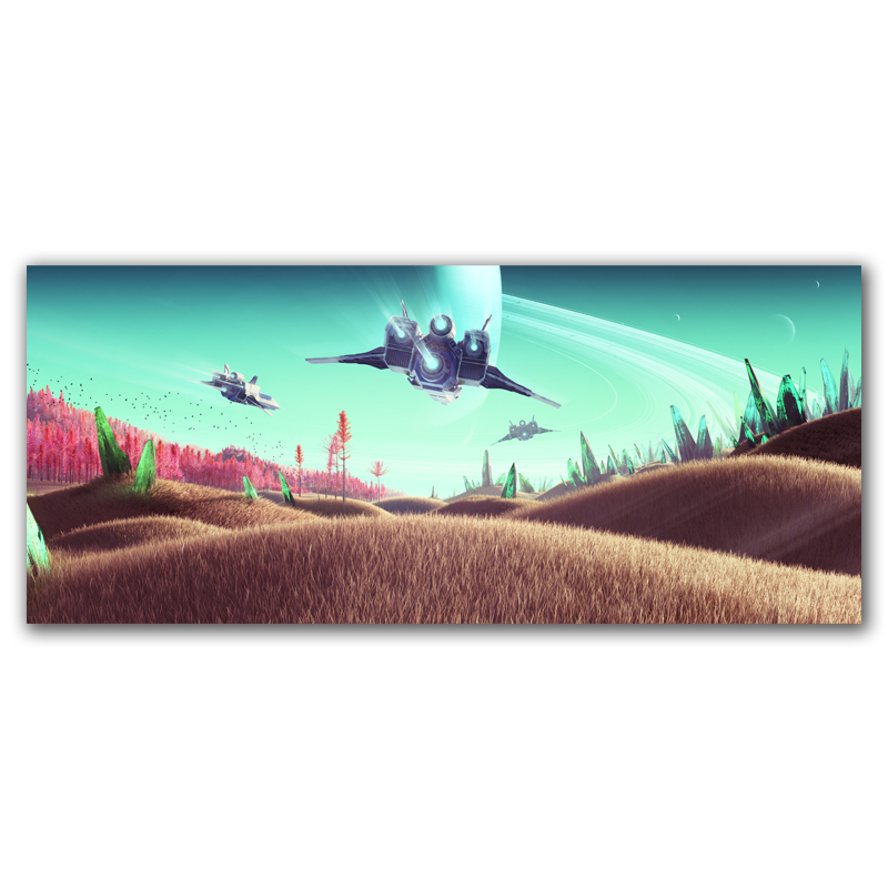 FOOCAME No Man's Sky Fantasy Video Games Art Silk Fabric Poster Prints Home Decor Painting 10x23 12x28 15x35 Inches