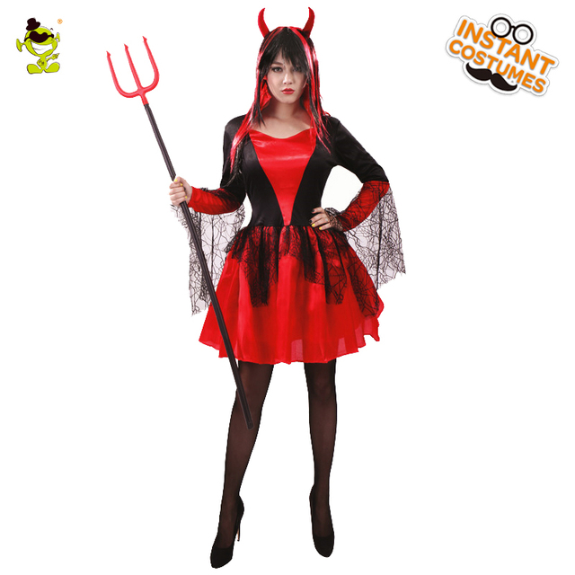cf74b4a58547 Women Devil Fancy Dress Outfits Costume Red Demon Girl Party Cosplay ...