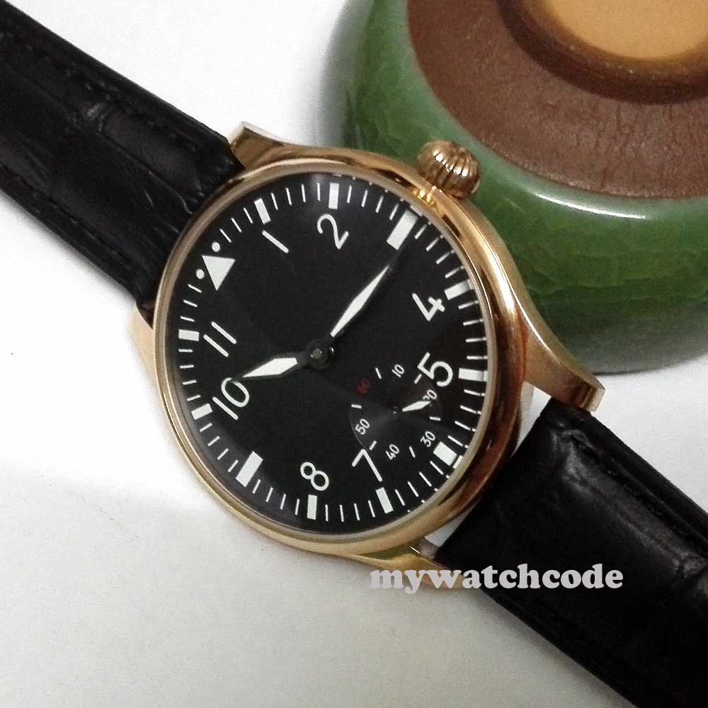 44mm parnis black dial rose golden 6498 movement hand winding mens watch 252B corgeut 44mm white dial rose golden case hand winding 6498 mens watch