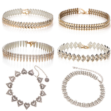 IF YOU 6 Types Fashion Boho Short Collares Gold Color Crystal Leaves Choker Necklaces For Women Wedding Birthday Chokers Jewelry