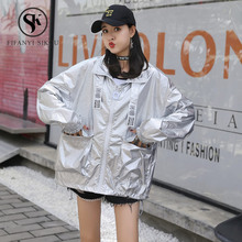2019 Summer Sunscreen Thin jacket women Streetwear Fashion Big pocket Ribbons Si