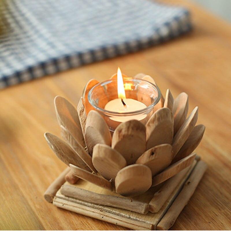 1 set handmade lotus vintage wooden tea light candle holder votive candle holder set wedding birthday party candle holders from home u0026 garden