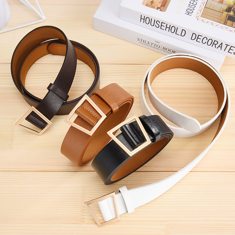 Hole free Belt With Simple Female Width And Wide Waistband For Leisure Youth Fashion Pants Pu Leather Belts Fash in Women 39 s Belts from Apparel Accessories