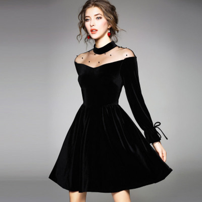 Johnature Sexy Lace Off Shoulder Summer Black Pleuche Size S-4XL Dress Women 2019 New O-Neck High Waist Tie Plus A-Line Dresses