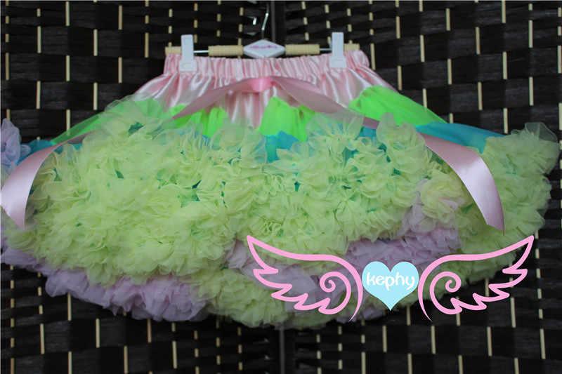 Bebé niñas chifón esponjoso Arco Iris pettiskirts tutú princesa fiesta faldas Ballet danza wear0-10 Ys ropa para niños, moda de bebé