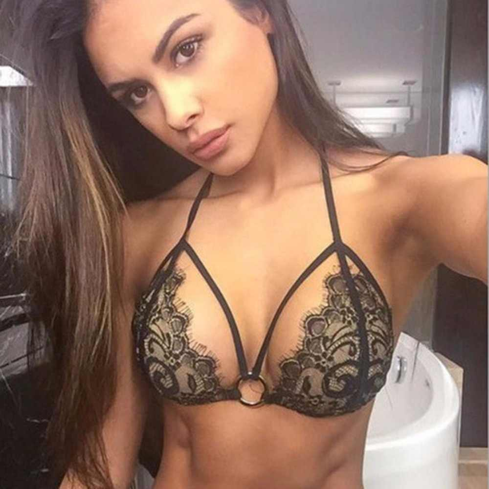 17cdaf4501d7 Detail Feedback Questions about 2018 New Women Swimsuit Bathing Suits  Wholesale Sexy Black Lace Bandage crochet Bikini Sets Push Up on  Aliexpress.com ...
