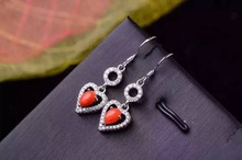 natural red coral drop earrings 925 silver Natural gemstone earring for women romantic heart drop earrings for wedding