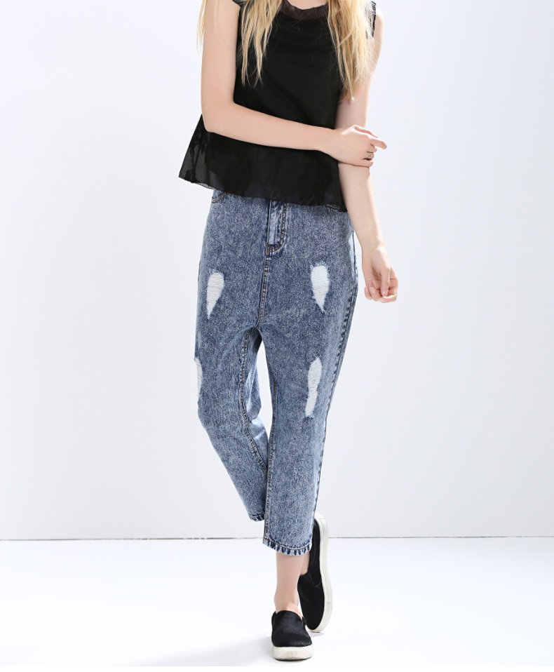 ФОТО Free Shipping Women Summer Sexy Loose Casual Denim Pants Female Spring Brand New Hole Straight Jeans Pants Trousers S/2Xl S1684