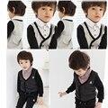 Primavera e no outono das crianças das crianças terno longo-sleeved camisa Inglaterra treliça calças two-piece set 0697