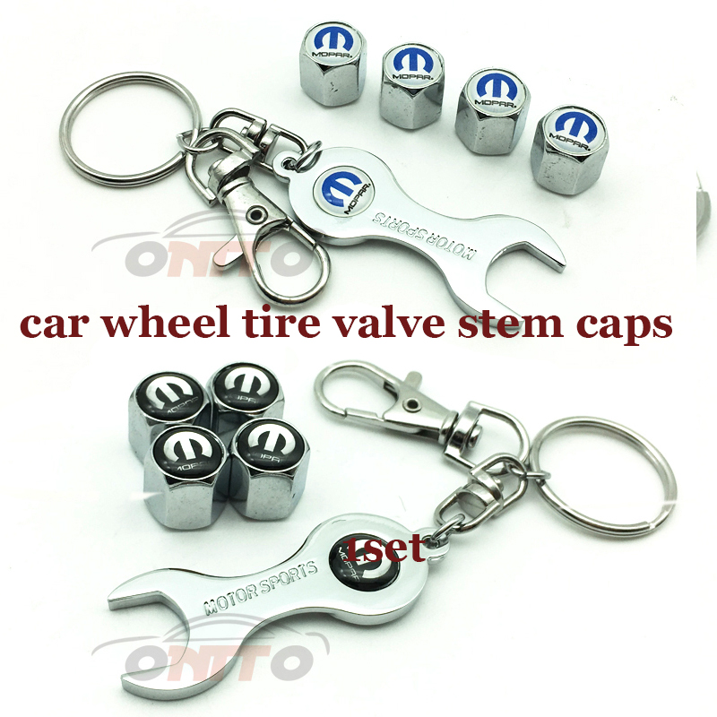 1 Set Car Wheel Tire Valve Stem Cap Auto Key Chain Holder Metal For Mopar Logo Badge For Peugeot Toyota Kia Honda Jaguar