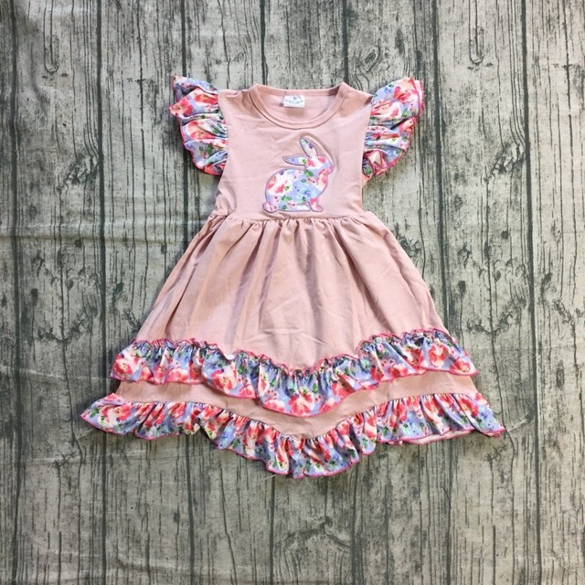 6571e3ac46b0 new arrival Easter cotton design baby girls kidswear boutique children  clothes coral bunny floral dress short sleeve knee length