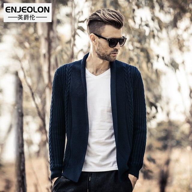 620ab949b03 Enjeolon top marque 2017 tricoté cardigan Chandails homme Angleterre style  vêtements