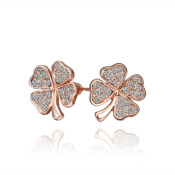 Fashion Jewelry Rose Gold Color With Crystal Four-leaf Clover Shape Ear Stud Earrings Ear Rings Pendant RE001