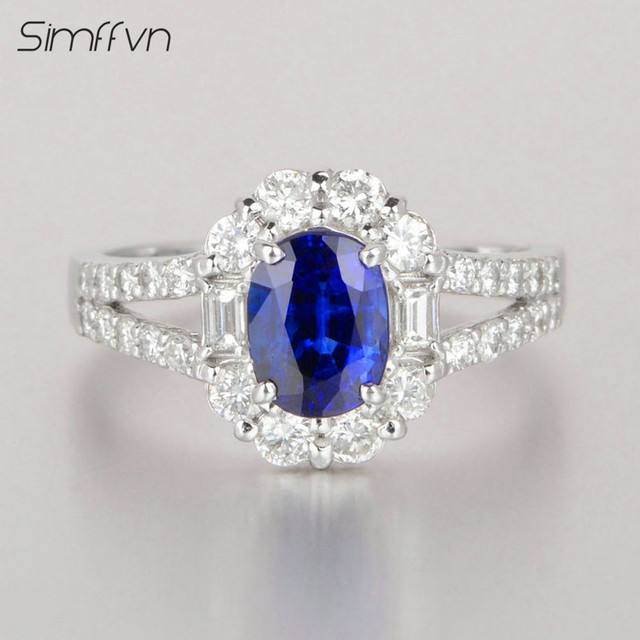 Flower Cut Prong Setting 1 94Ct Sapphire Ring With Natural Diamond