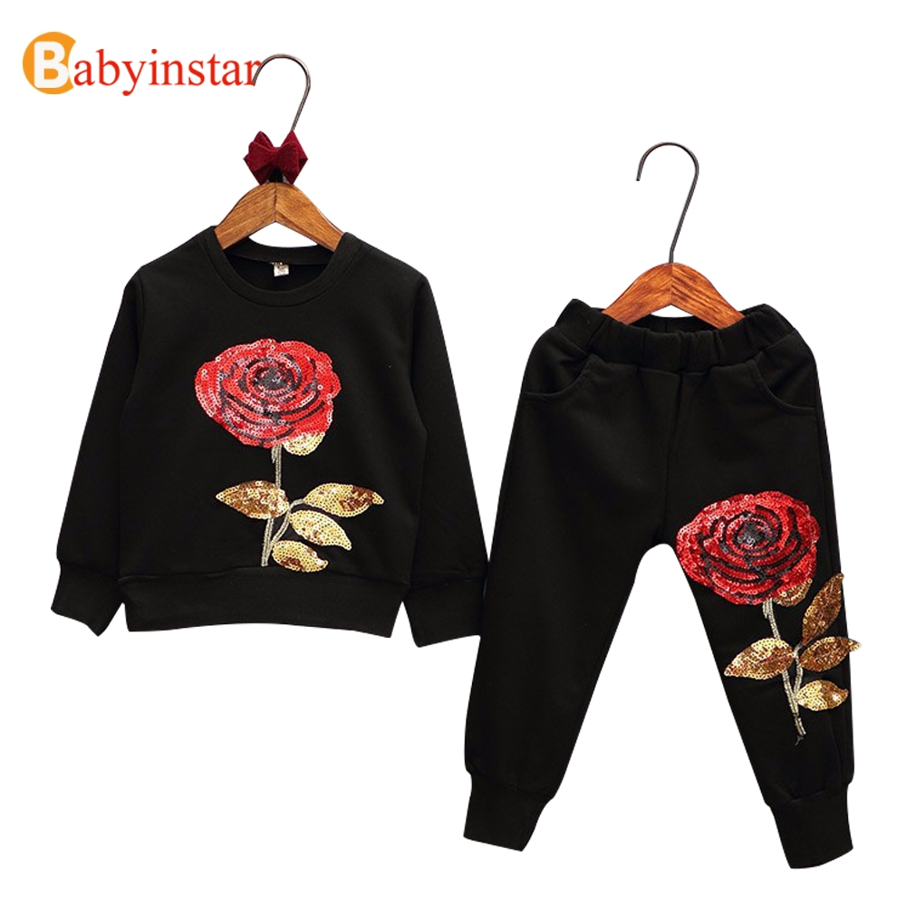Fashion Kids Suits Floral Rose Embroidered Sequins Boys Girls Leisure Clothing Sets Baby Sports Wear Childrens Sets