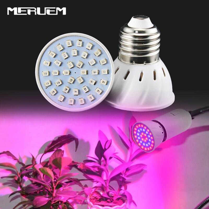 72 LEDs เติบโตไฟ E27 AC85-265V เต็มสเปกตรัมพืชในร่มโคมไฟสำหรับพืชผักระบบไฮโดรโพนิพืชแสง
