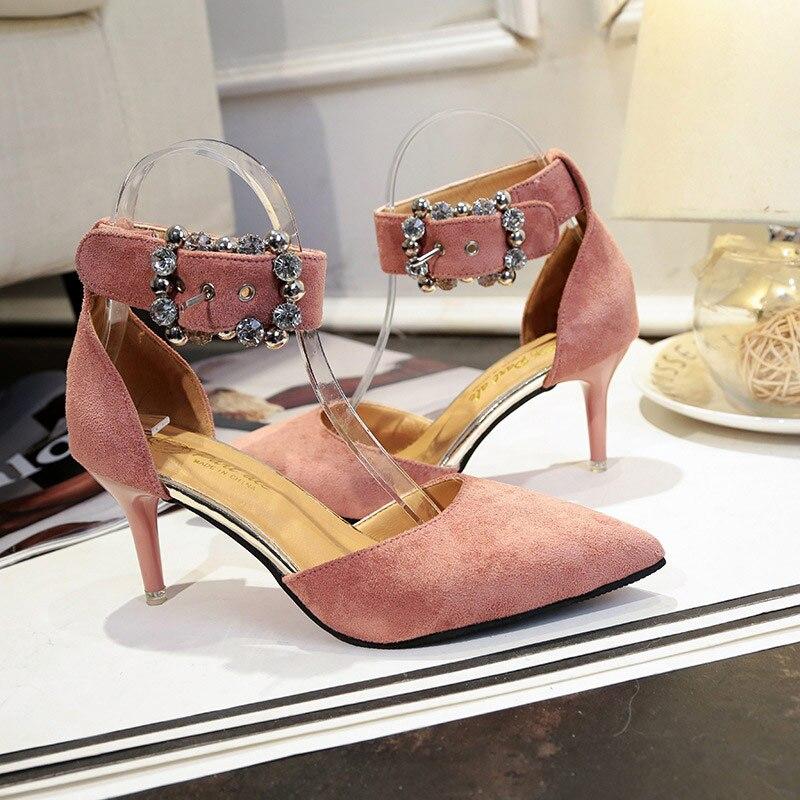 Pie El Pink Hebilla Puntiagudo Sandalias Black Las Elegante Mujer fYby76g