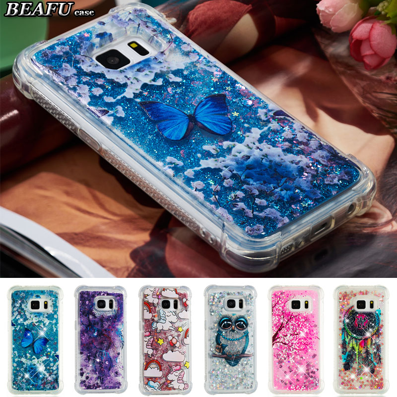 For Hoesje Sumsung S7 Case Silicone Liquid Phone Cover Coque Samsung Galaxy S7 Edge Case Transparent Glitter Soft Back Cover S7 ...