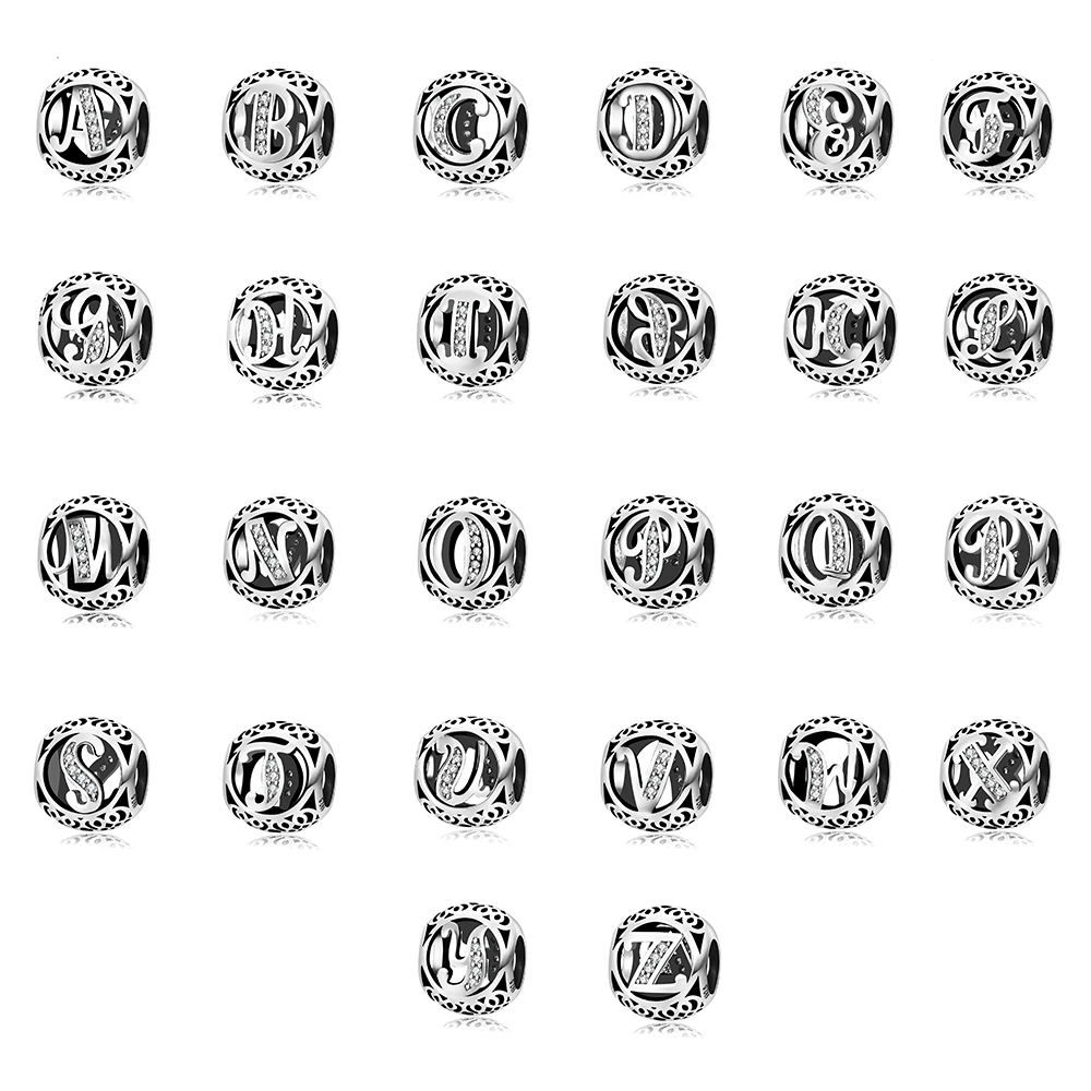 Hot Sale Silver Beads With 26 Letters N Z Fashion Crystal