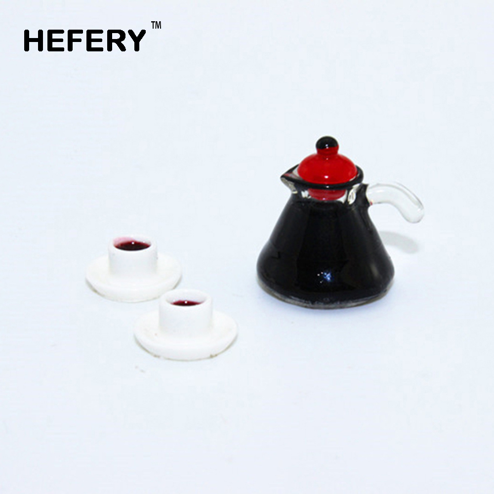 1/12 Dollhouse Miniature Accessories Mini Coffee Pot With Two Cup  Simulation Furniture Tableware Toys For Doll House Decoration