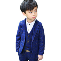 Children Formal Wedding Clothing Sets Flower Boys Plaid Blazer vets pants 3pcs Suits Sets Kids Gentleman Tuxedos Party Clothes