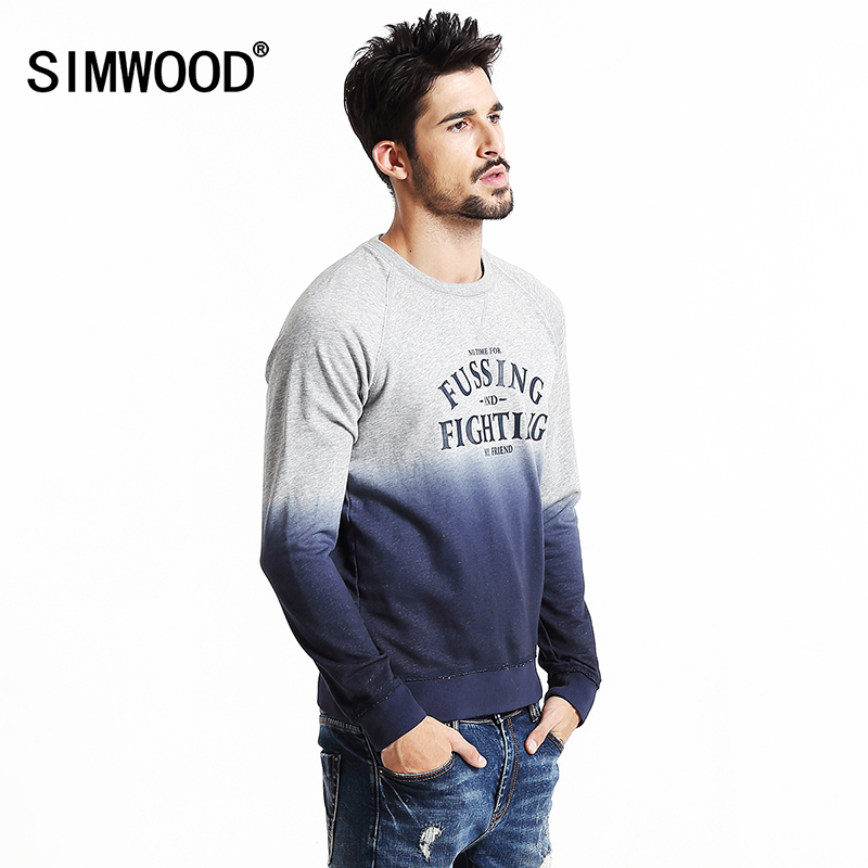 Simwood 2017 New Spring Design Men Color Matching Letter Printing Pullover Round Collar Sweatshirt WY8028