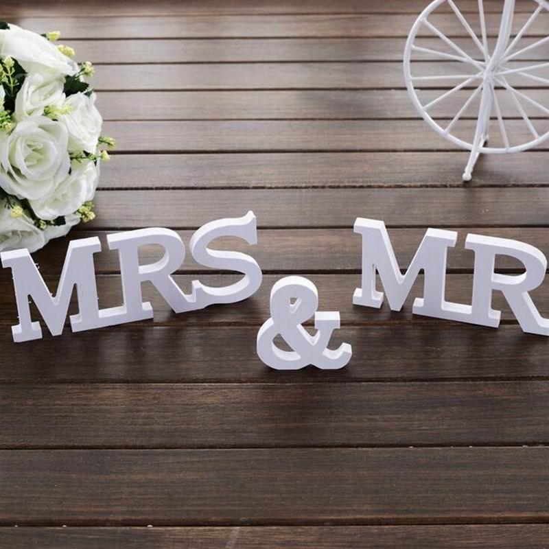 Комплект из 3 предметов Свадебные Аксессуары Mr & Mrs Mariage жениться Декор День рождения Аксессуары белые буквы Свадебные знак горячей