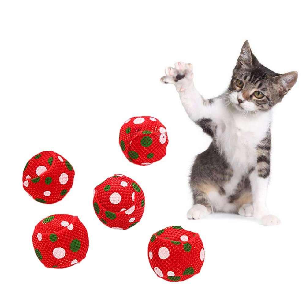 5 pcs Pet Brinquedos Do Gato Bola de Natal Gatinho Teaser Interativo Brinquedo Engraçado de Moagem