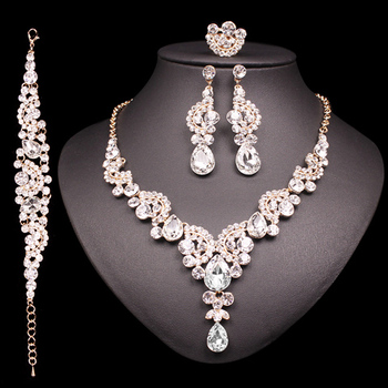 Fashion Crystal Jewelry Sets Jewelry Jewelry Sets Women Jewelry Metal Color: 4 pcs suit white