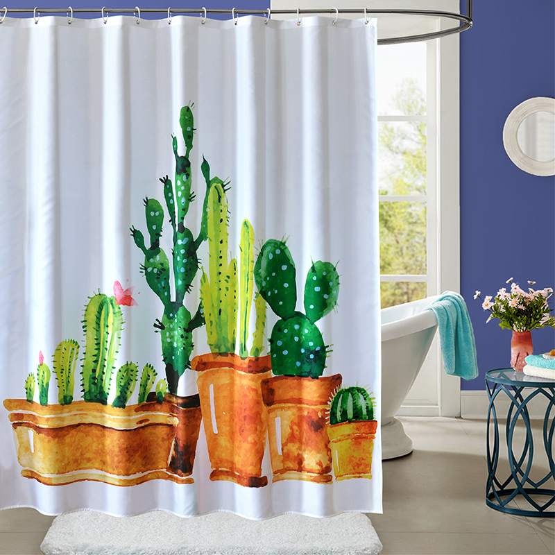 YUN YANG Quality Shower Curtain Cactus Pattern Thicken 3D Printing For Bathroom Waterpro ...