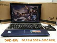 1920*1080 P 15 дюймовый Игровой Ноутбук ноутбука С DVD 8 Г DDR3 Ram 500 Г HDD в тел J1900 Quad Core 2.0 ГГц WI-FI камера HDMI