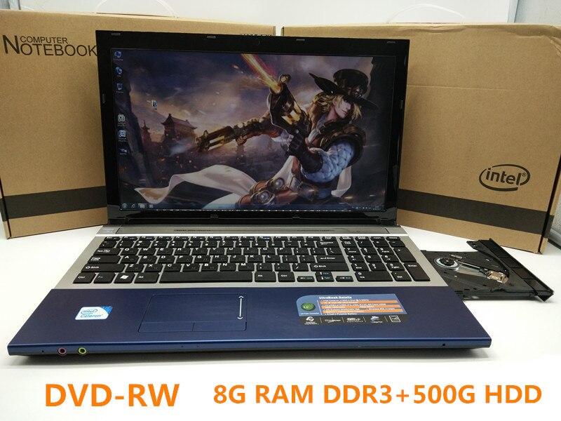 Prix pour 1920*1080 P 15 pouces Ordinateur Portable De Jeu Ordinateur Portable Wtih DVD 8G DDR3 Ram 500G HDD en-tel J1900 Quad Core 2.0 Ghz WIFI webcam HDMI