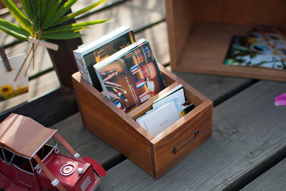unid zakka comestibles retro postales antiguas de madera caja de madera papelera pequea caja de