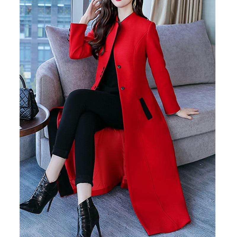 Hiver Femmes Coata577 Super Mince Mode Longue Single 2018 Automne breasted Vêtements red Section Manteau Couleur Black Laine Solide Femme De WZWTF