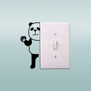 Panda-17 Cute Panda Waving Behind Light Switch Stciker Cartoon Animal Vinyl Wall Stickers Home Wallpaper