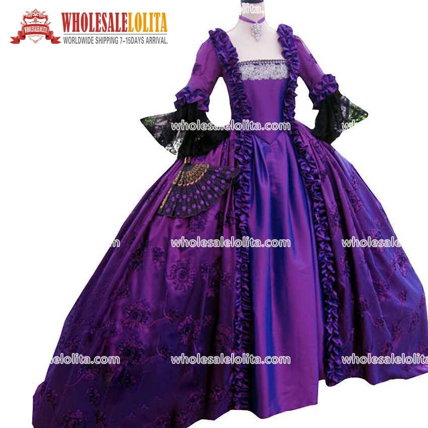 Лидер продаж 17 века фиолетовая Мария Антуанетта Длина пола праздничная одежда Бальное Платье Великолепное колониальное 18 го века проклеен