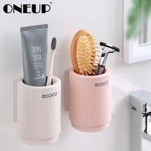 ONEUP магнитный держатель для зубных щеток с адсорбцией пшеничная соломенная чашка для хранения зубной пасты настенный набор аксессуаров для ванной комнаты