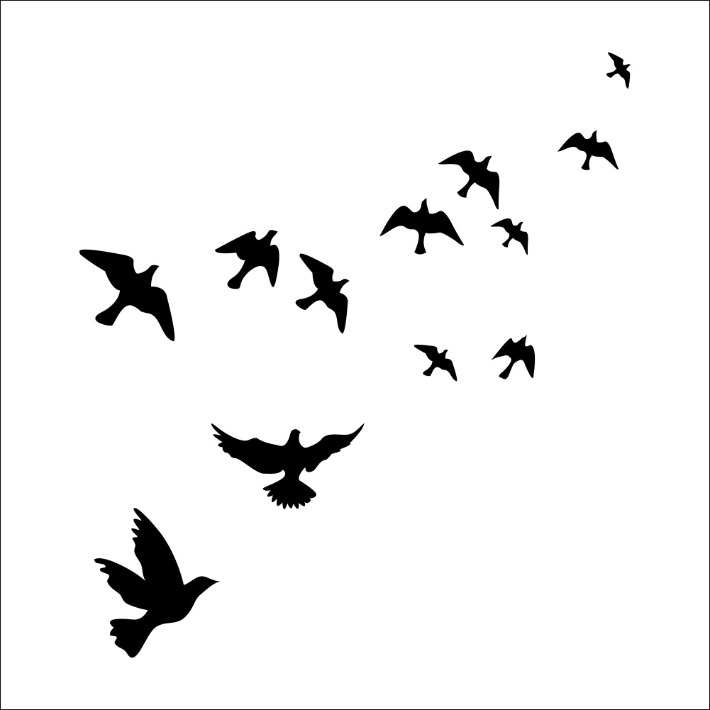 Bird Black Stickers White And