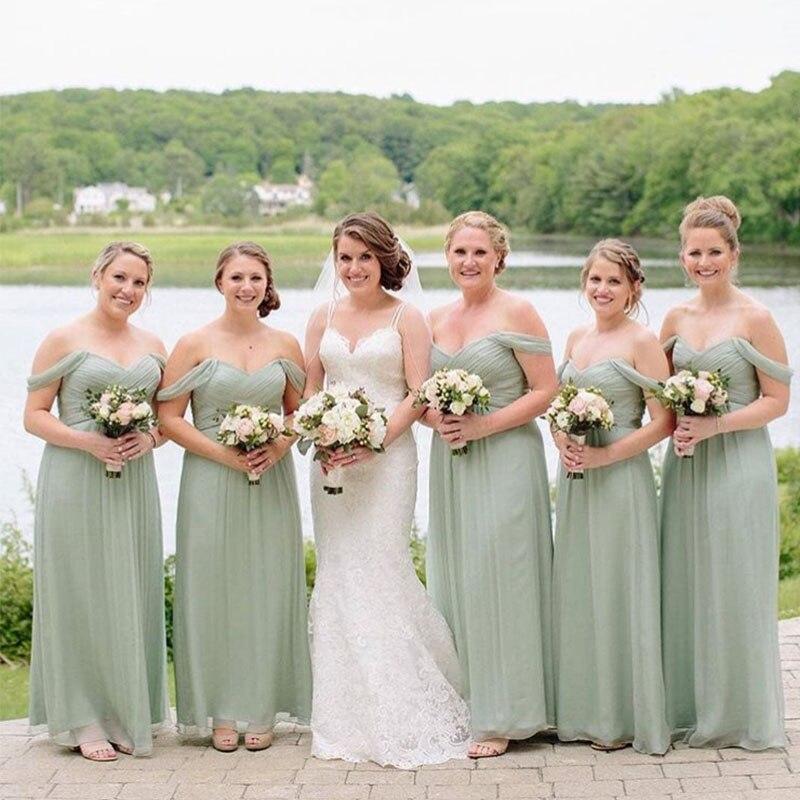 Lamiabridal Simple Pleats Light Kiwi Bridesmaid Dresses Off The Shoulder Long Chiffon Garden Women Formal Party Dresses Cheap
