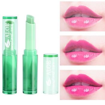 Bálsamo labial hidratante de labios para mujer, maquillaje de Aloe Vera, planta,...