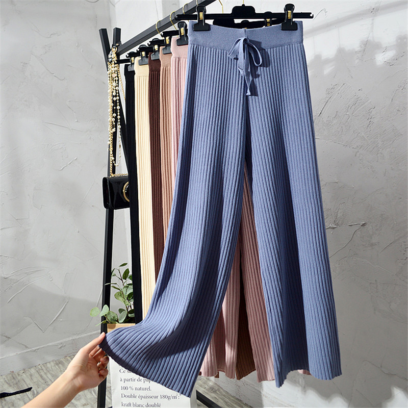 New Korean Section Fashion Women Trousers Autumn Winter Knitted Wide Leg Pants Elastic High Waist Female Casual Loose Pant S1267