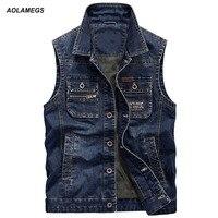 Aolamegs Men S Jeans Vest New Men Sleeveless Cowboy Vest Male Vintage Loose Waistcoat Photographerest Homme