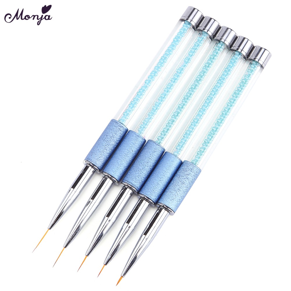 Monja 5/7/9/12/15mm Nail Art Metal Pearl French Stripes Lines Flower Painting Drawing Liner Brush Pen Manicure Tools dysprosium metal 99 9% 5 grams 0 176 oz