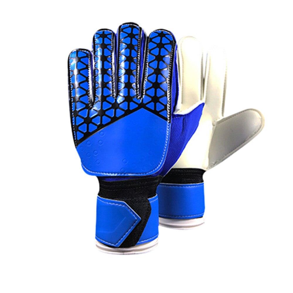 A Pair Goalkeeper Full Latex PU Gloves Goalie Keeper Gloves Roll Finger Soccer Sports Protection Gloves Anti-slip Durable Gift