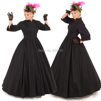 Black Period Masquerade Ball Gown Victorian dresses Eras Regency Civil War dress Revolutionary Vintage Halloween dress HL 137