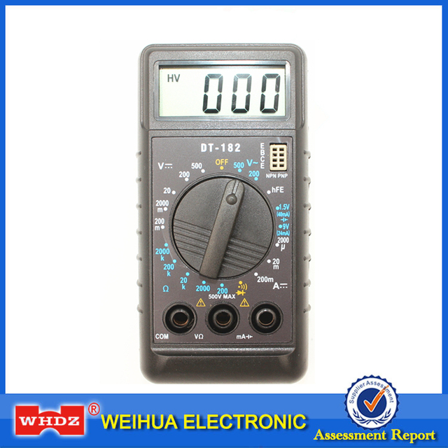 WHDZ DT182 Extra Mini Digital Multimeter with Buzzer Overload protection Pocket Voltage Ampere Ohm Meter Test Probe DC AC LCD